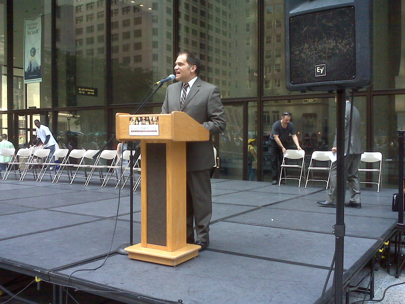 Rocco J. Claps at Daley Plaza Reading Governor's Peace Proclamation