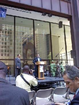 Director Rocco Claps at Daley Plaza in Chicago