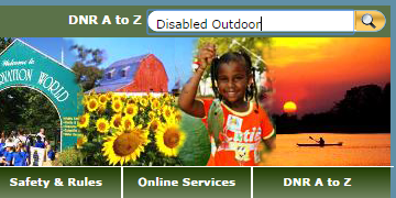Disabled Outdoor typed in Search box