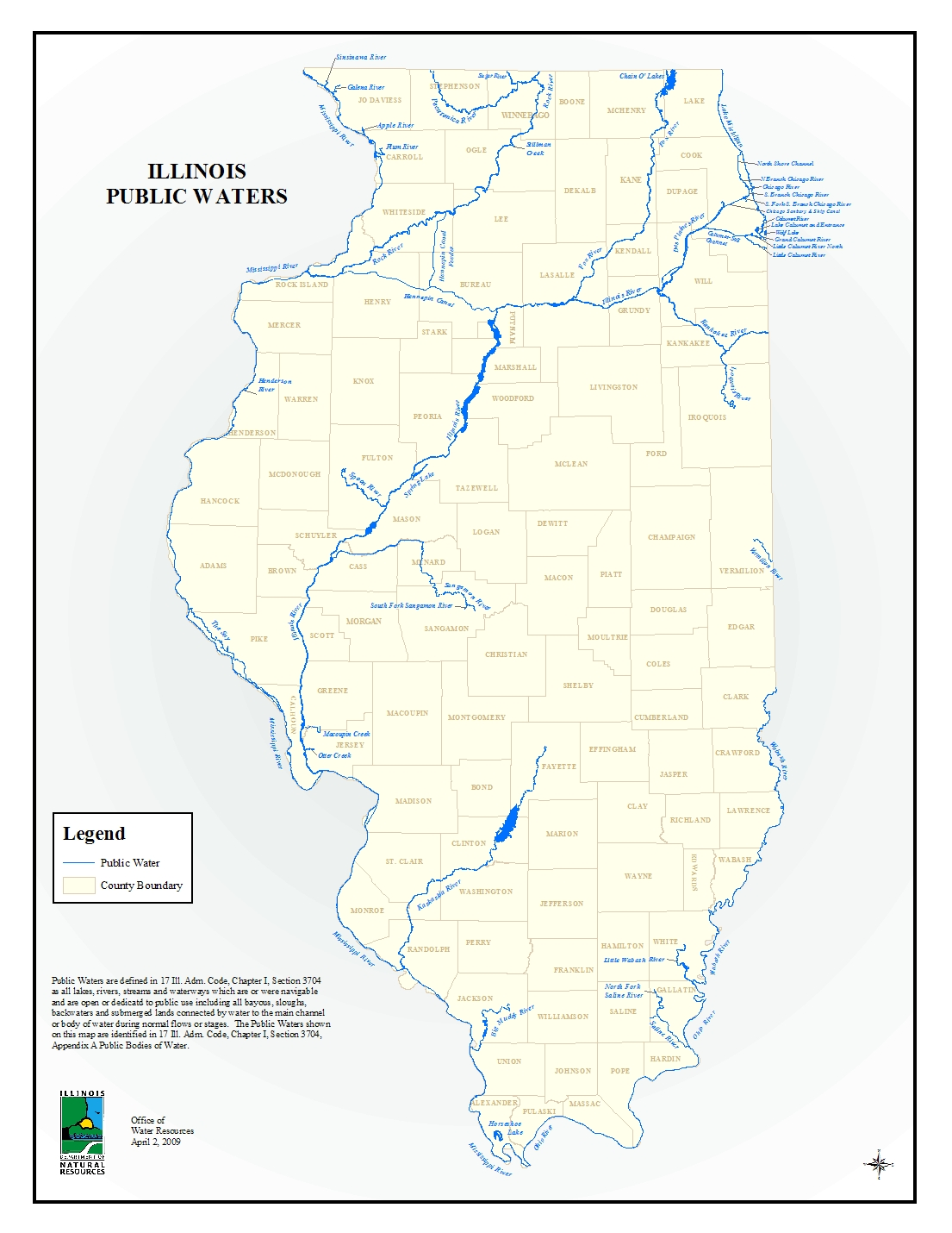Water Resources - Map of illinois rivers