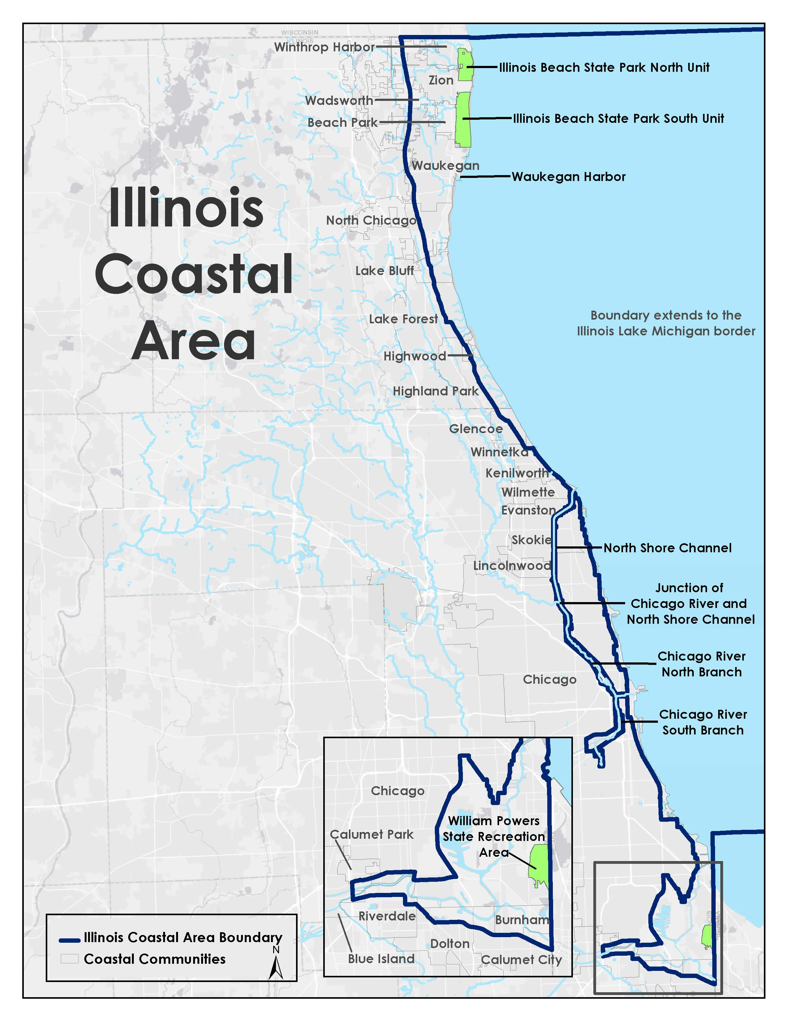 Map of Illinois Coastal Area