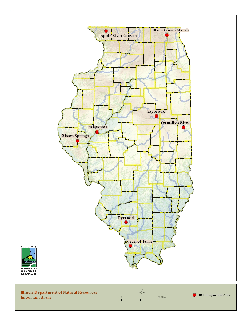 State map of IDNR IMportant Areas