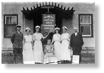 Women's first aid team in front of the mine rescue station.