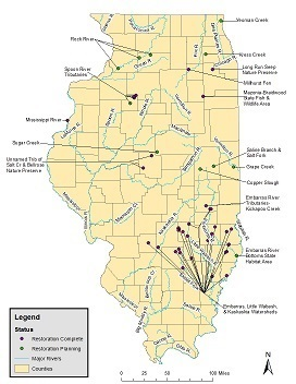 small map of Illinois NRDA sites