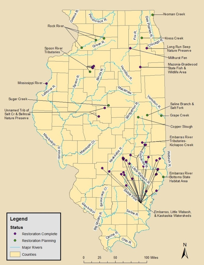 large clickable map of Illinois NRDA sites