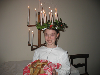 Young Girl Dressed for Lucia Nights at Bishop Hill