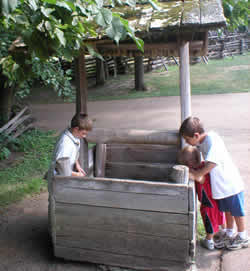 Photo: Two boys investigating old wooden well