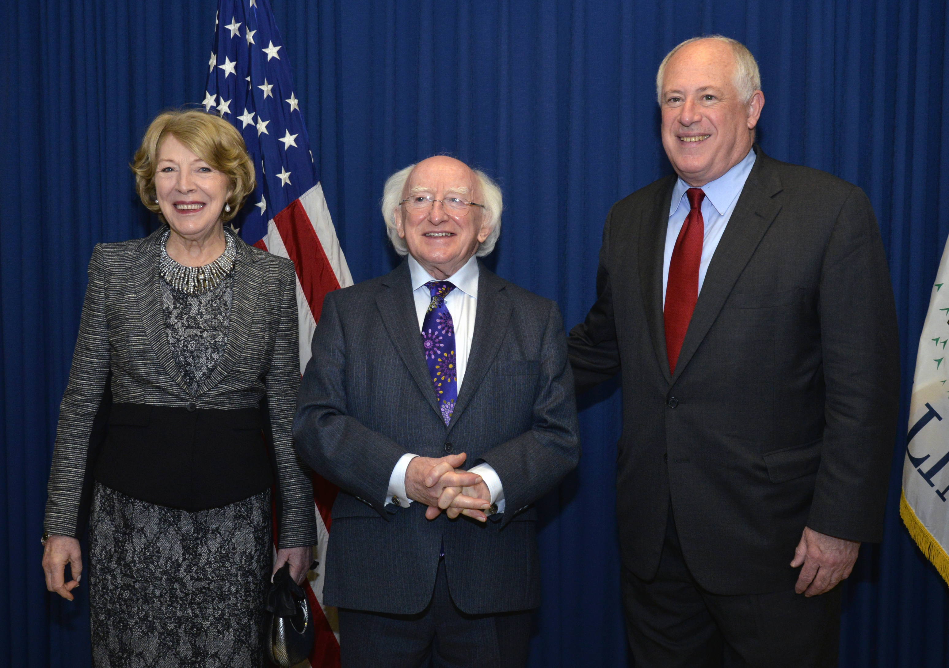 From left to right: First Lady of Ireland Mrs. Sabina Higgins; President of Ireland Michael Higgins; Governor Pat Quinn.