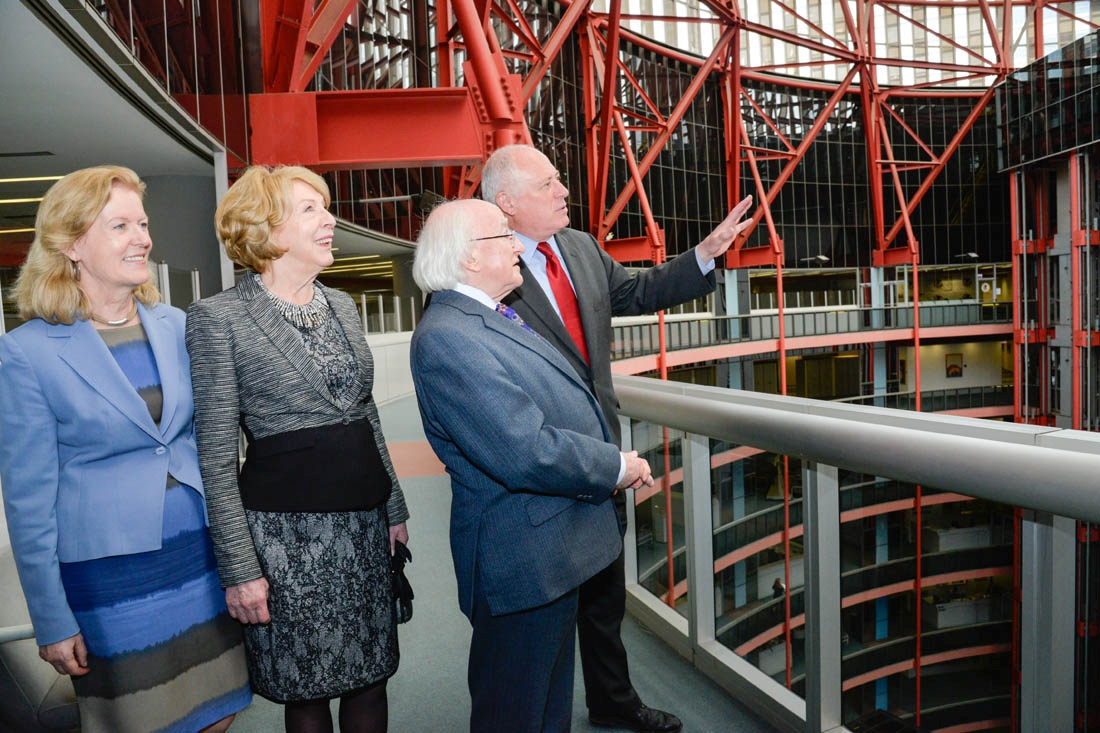 From left to right: Irish Ambassador to the United States, Anne Anderson; First Lady of Ireland Mrs. Sabina Higgins; President of Ireland Michael Higgins; Governor Pat Quinn.