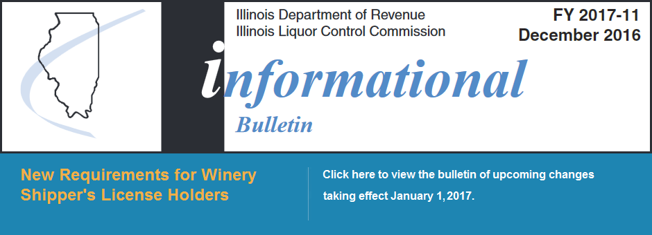 Informational Bulletin - New Requirements for Winery Shipper's License Holiders
