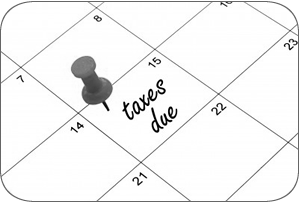 calendar of tax due date of April 15