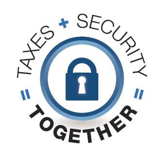 Taxes + Security = Together logo