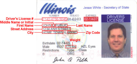 drivers license document number illinois