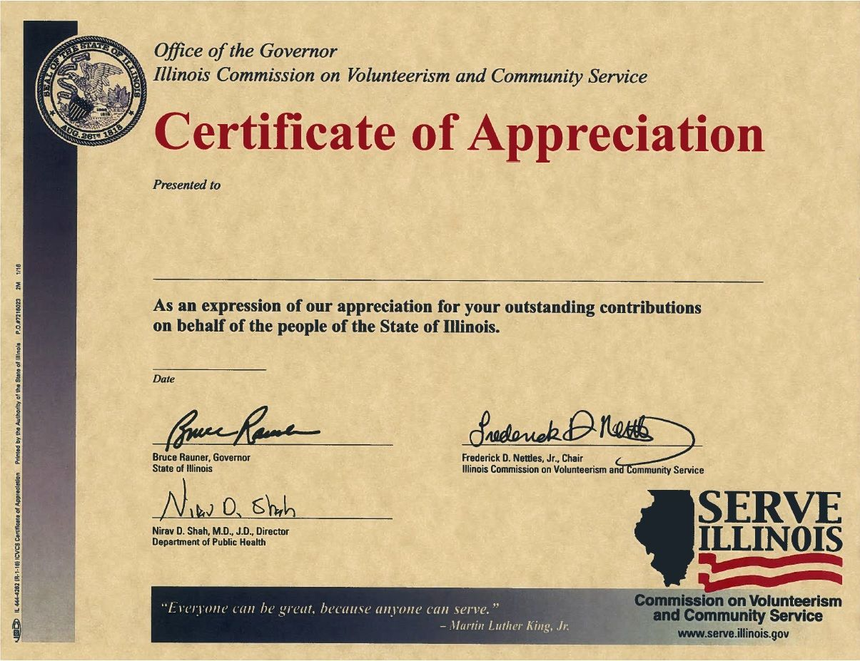 volunteer recognition certificate serve illinois gov