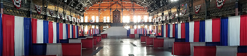 picture of vendor booths in the Exposition building